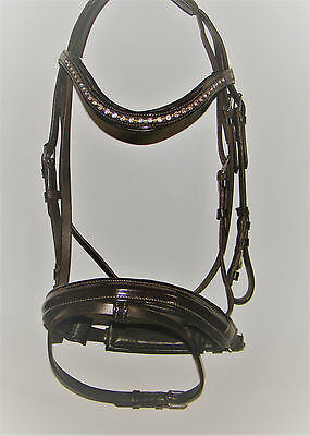 Brown with Crystal & Gold Bling Padded Bridle in Full or Cob size