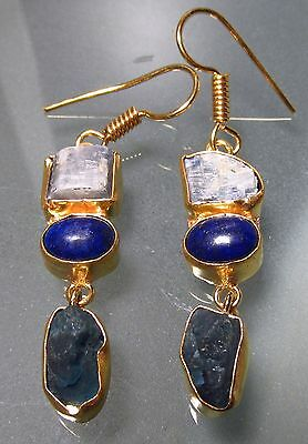 Gold plated brass rough blue kyanite & apatite, and lapis lazuli earrings.