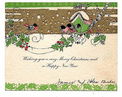 Vintage 1930's Christmas Greeting Card Birds Holly & Berries