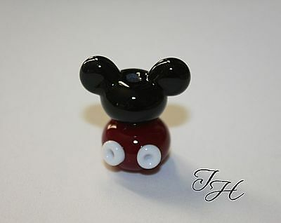 Red White Mouse Ears Set focal Handmade Glass Lampwork Bead by TH sra