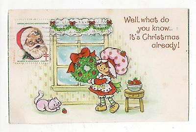 Vintage 1983 Strawberry Shortcake Christmas Postcard, Elkader Iowa Post Mark
