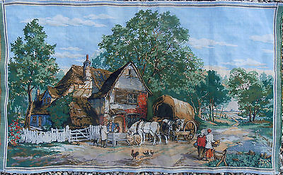 French AUBUSSON Tapestry THE COUNTRY FARM HORSE CHICKENS WAGON WONDERFUL COLORS