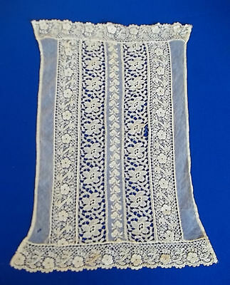 """Victorian lace front panel beige Machine made 10 x 16"""" as-is Bodice Panel"""