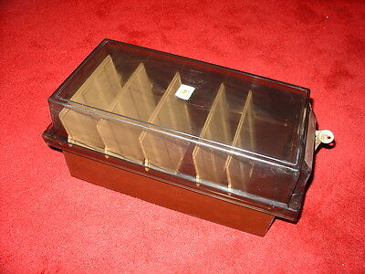 Vintage 80s REXEL FLOPPY 5 1/4 Disk Case Disc with Dividers & keys 5.25 retro