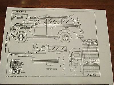 """1938 Chevrolet Panel Delivery/Suburban? Paint Instruction Drwg:18""""X24"""" #598404"""
