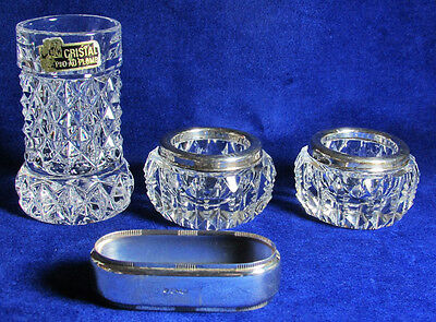 c1892 Prism Column Zippered Block Cut Crystal with Sterling Rim 2 Open Salts