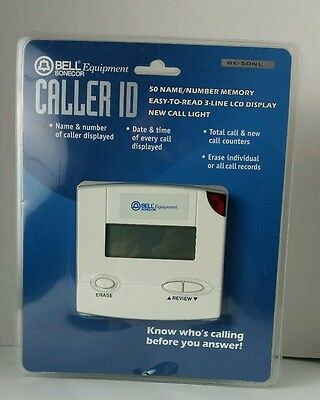 Sonecor Bell Caller ID BE-50NL Equipment Name Number 50 Memory 3 Line Display