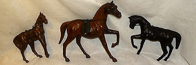 Vintage Leather Wrapped Wooden Horses Statue Glass Eyes Lot of 3