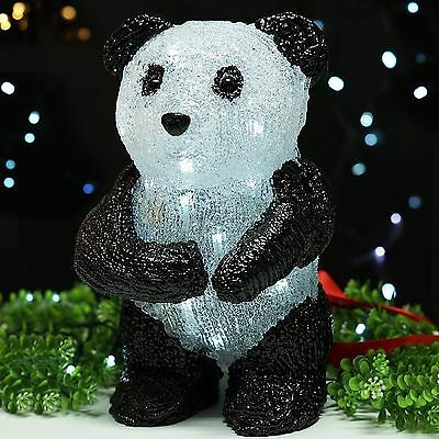 New Solar Powered Acrylic Panda Valentines Figurine Decoration with LED Lights