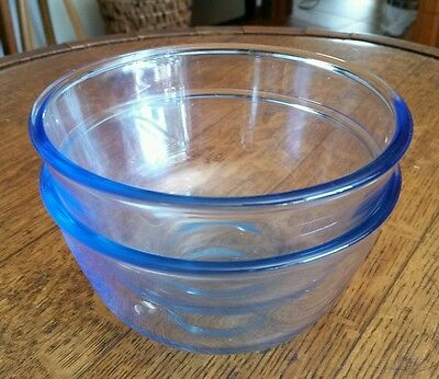 2 Matching Pyrex Corning Clear Blue Kitchen Bowls Stackable
