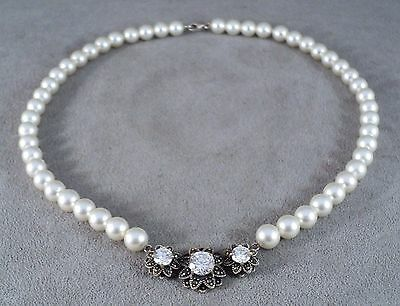 Vtg Lustrous Pearl Choker Necklace Crystal & Marcasite Sterling Pendant -Estate