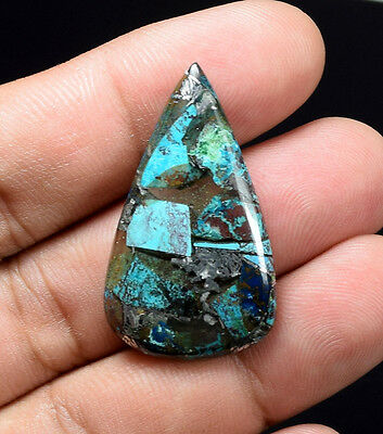 Gorgeous 20.25 Cts. Natural Silver Chrysocolla Pear Cab Loose Gemstones