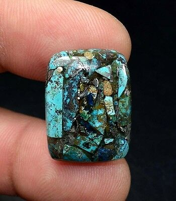 Beautiful ! 16.70 Cts. Natural  Silver  Azurite  Cushion Cab For Silver Pendant