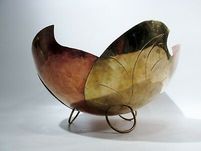 Large Midcentury F.C.S. Mexican Copper & Brass Leaf Centerpiece Bowl Tlaqupaque