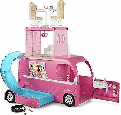 Barbie Pop-Up Camper RV Vehicle Toy, Front Cab Converts, Swiming Pool - CJT42