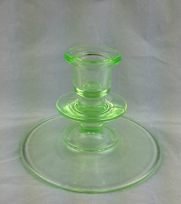 "Mid-Century Vintage  Green Transparent Glass Candlestick Holders 3.50"" H"