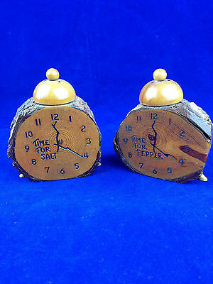 vintage souvenir salt and pepper shakers clock shaped from real log wood bark