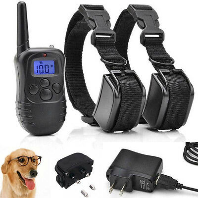 Rechargeable Trainer Pet Electric Remote Shock Training Collar For 1/2 Dogs