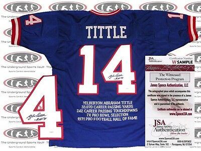Y.A Tittle New York Gaints Signed/ Autographed Stat Jersey JSA
