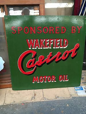 Wakefield Castrol Hand Painted Vintage Sign On Board