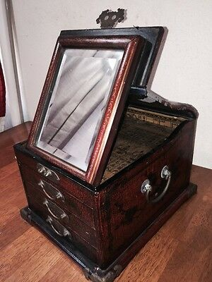 Antique Oriental Wood Jewelry Box W/ Metal Accents/handles Drawers Mirror Dragon