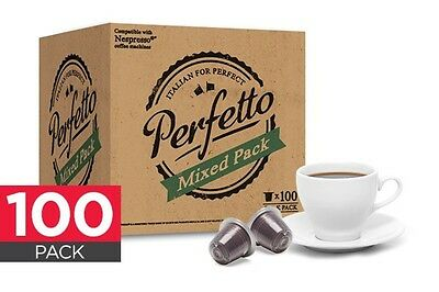 100 Pack Perfetto Nespresso Compatible Coffee / Chocolate Capsules + Free Ship