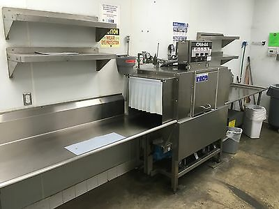 Conveyor Dishwasher CMA-44 208V 3 Phase Circa 2008 3 Trays Tables Included Used