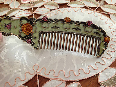 Vintage Style Green Enamelled  Rose Hair Comb...New