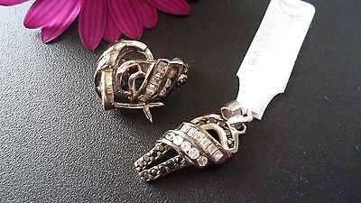 Genuine 925 Solid Sterling Silver  Set Pendant& Earrings Made In Italy