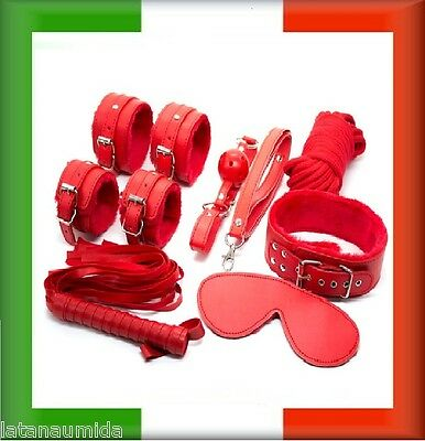 XX KIT set 8 pz POLSINI fetish MISTRESS SLAVE Frusta rosso  gagball collare sexy