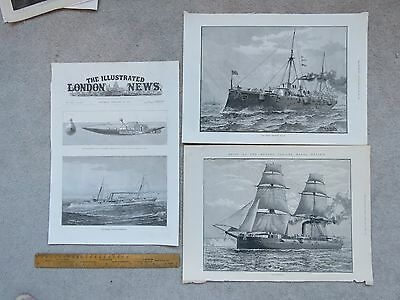 Vintage 1887 Illustrated London News - HMS Mersey, Imperieuse, Torpedo Gun Boat