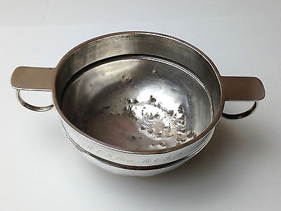 ANTIQUE - SOLID SILVER - TWIN HANDLED - DISH / BOWL - HALLMARKED STERLING 158.8g