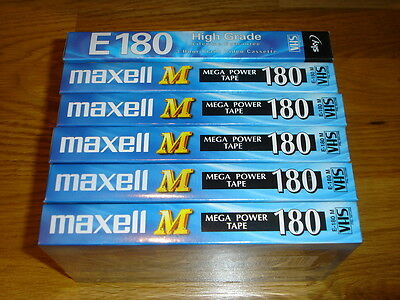 5 X Maxell & 1 x Sky 180 VHS Blank Video Tapes Sealed