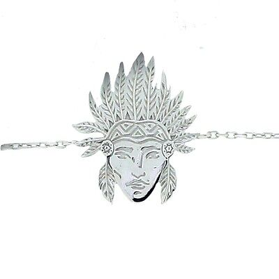 Bracelet to charm head'indian rhodium plated silver - 18cm