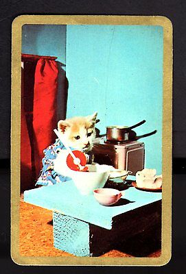 70's Newsagent Swap Card - Kitten in the Kitchen (Gold Border)  (BLANK BACK)