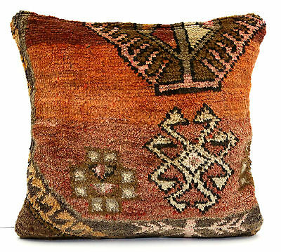"VINTAGE TRIBAL KURDISH HAND KNOTTED CARPET RUG PILLOW CUSHION COVER 20"" x 20"""