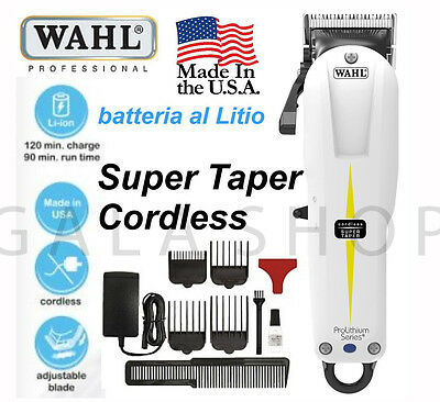 Wahl Tosatrice Cordless Super Taper Prolithium Series Professionale Kit Completo