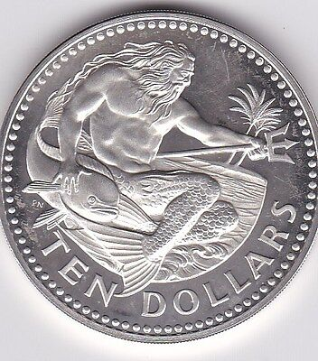 """BARBADOS $10 DOLLARS 1974 """"NEPTUNE"""" SILVER Coin (KM# 17a) PROOF"""