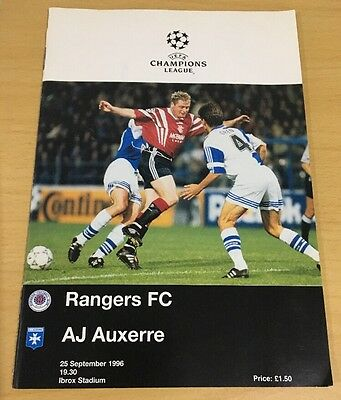 Rangers FC v Auxerre - Champions League 25th September 1996