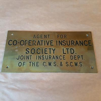 Old CO OP Cooperative Insurance Agent Sign Plaque CWS SCWS Scotland Glasgow