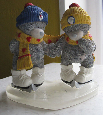 Rare Vintage Me To You Figurine Winter Wonderland Teddy Bears Ornament Skating