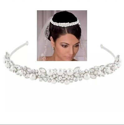 Bridal Wedding Tiara, Austrian Crystal Ivory Pearls, With Tiara Box