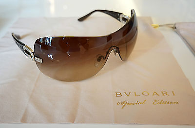 Bvlgari Ladies Sunglasses in Brown/Gold with Case, excellent condition