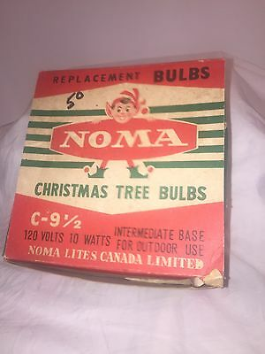 VINTAGE BOX OF NOMA 25 Large LIGHT CHRISTMAS TREE LITES WITH COLORED BULBS 1940s
