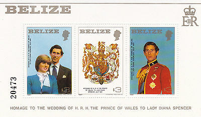 Belize 1981 Royal Wedding Souvenir Sheet Large Format Mnh
