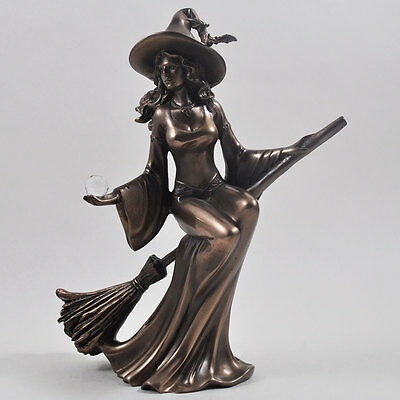 Stunning Cold Cast Bronze Witch Riding Broom Figurine Statue Sculpture New Boxed
