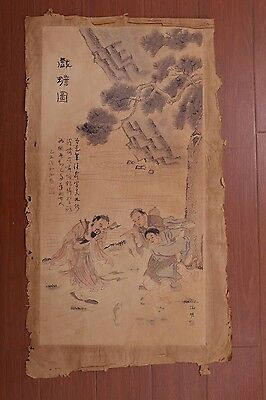 Large Rare Old Chinese Hand Painting Figures and Toad Marks PD007