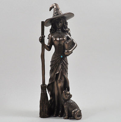 Stunning Cold Cast Bronze Witch With Cat Figurine Statue Sculpture New Boxed