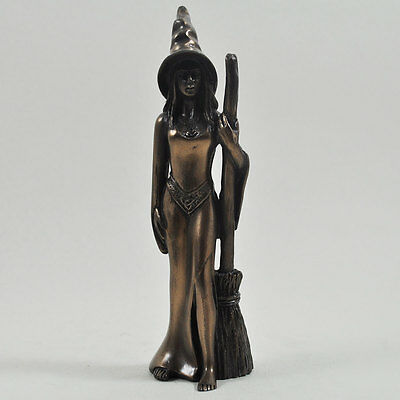 Stunning Small Cold Cast Bronze Witch Figurine Statue Sculpture New & Boxed