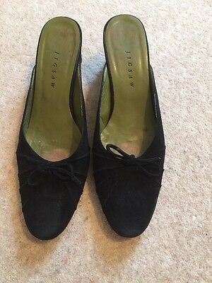 Jigsaw Black Suede Low Wedge Mules, Size 6 (39)